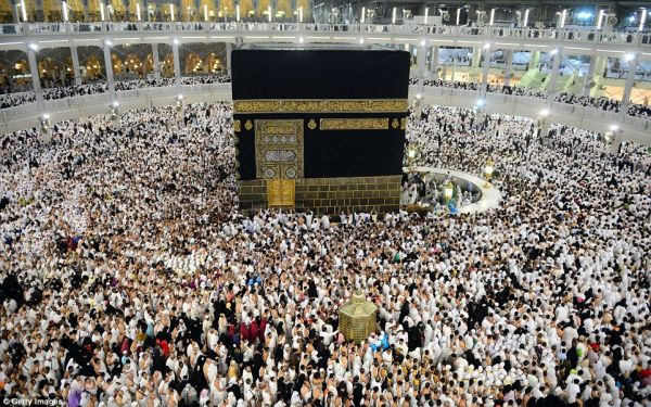 •Muslim faithful praying at Makkah during Hajj