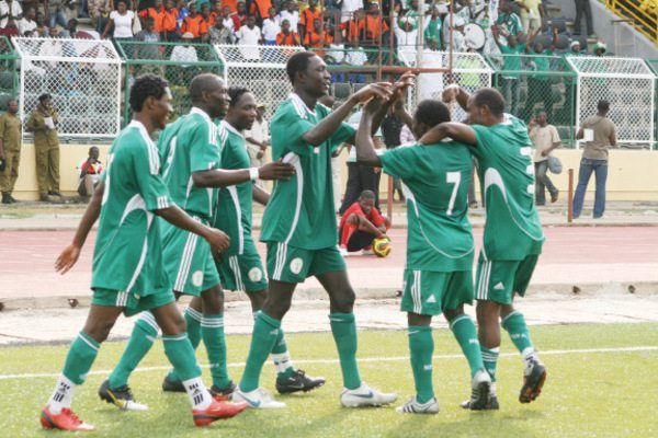 •Home-based Super Eagles celebrating a goal