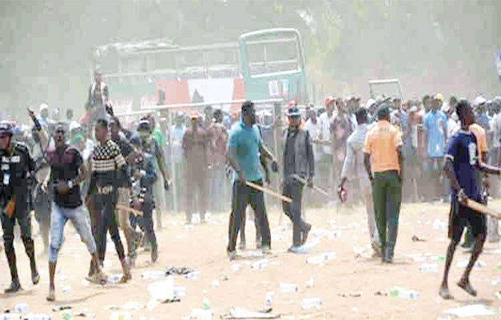 • Hoodlums on rampage at the campaign rally
