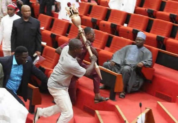 •The moment hoodlums carted away Senate Mace