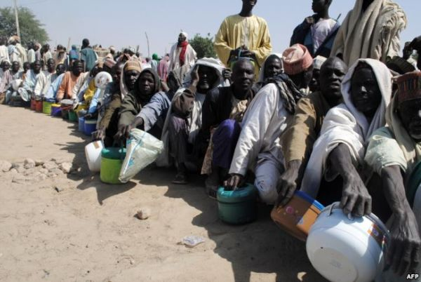 •IDPs waiting for relief materials.