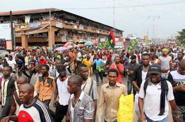 •IPOB activists during a pro-Biafra march