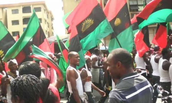 •IPOB members during Friday's anti-election procession in Onitsha