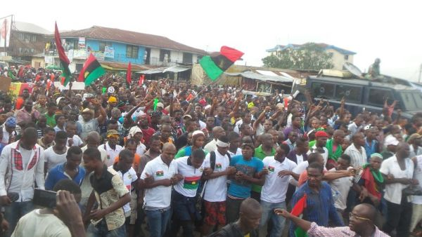 •IPOB members during a protest before the group was outlawed