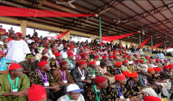 •A cross section of Igbo red cap chiefs.