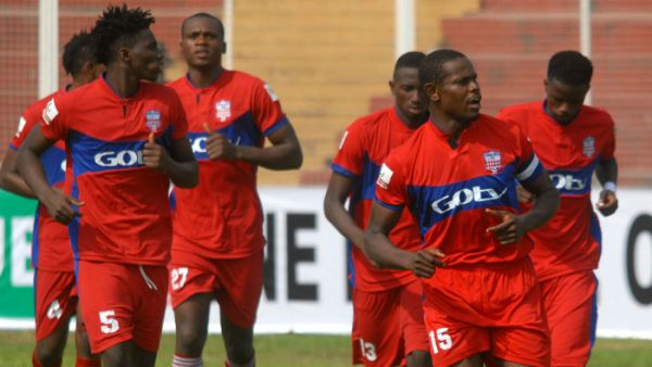 •Players of Ikorodu United warming up before a match.