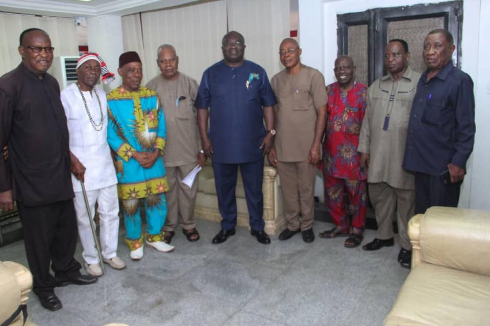 •Governor Ikpeazu with the Abia pensioners delegation