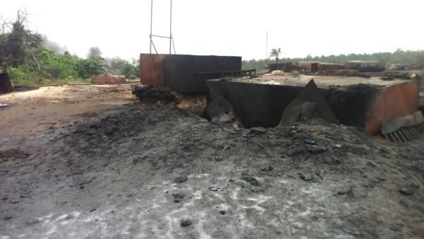 •One of the destroyed illegal refineries. Photo: Nigerian Army.