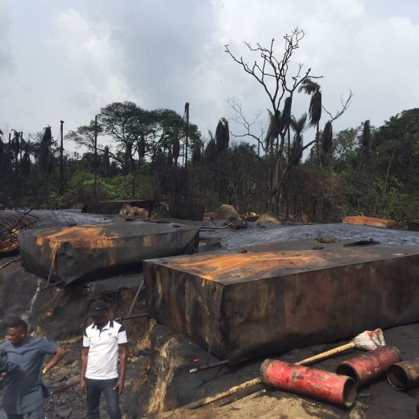 •One of the illegal refineries destroyed by troops.
