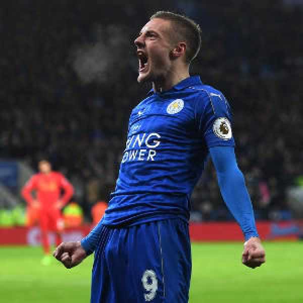 •Leicester's two-goal hero Jamie Vardy in celebration mode.