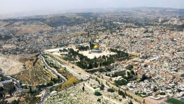 •Aerial view of Jerusalem.
