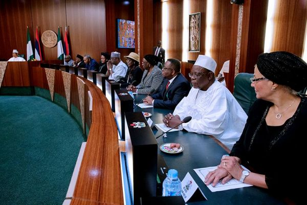•A cross section of judges during Friday's meeting with President Buhari at the Presidential Villa