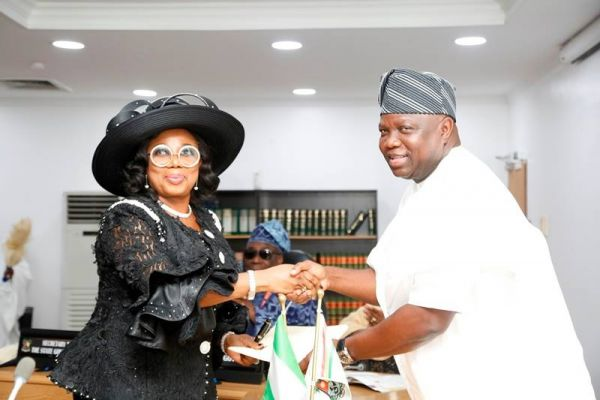 •Justice Opeyemi Oke and Governor Ambode exchanging pleasantries