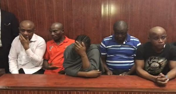 •Billionaire kidnapper Chukwudumeme Onwuamadike alias Evans (L) and other accused in court Wednesd