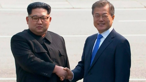 •North Korean Leader Kim Jong Un and South Korean President Moon Jae-in during the historic moment