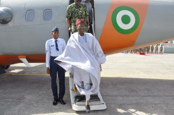 •Information and Culture Minister Lai Mohammed on arrival at Damaturu on Sunday. Photo: NAN