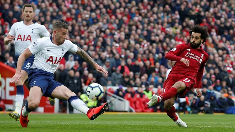 •Liverpool star Mohammed Salah shoots towards goal in a past encounter with Spurs. Photo: Reuters
