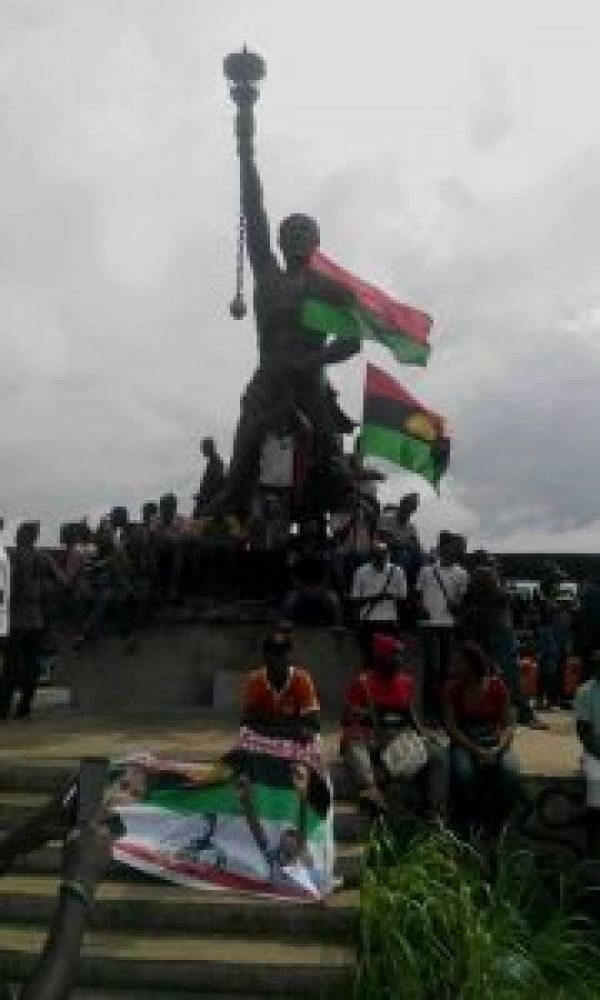 •MASSOB members during a protest session