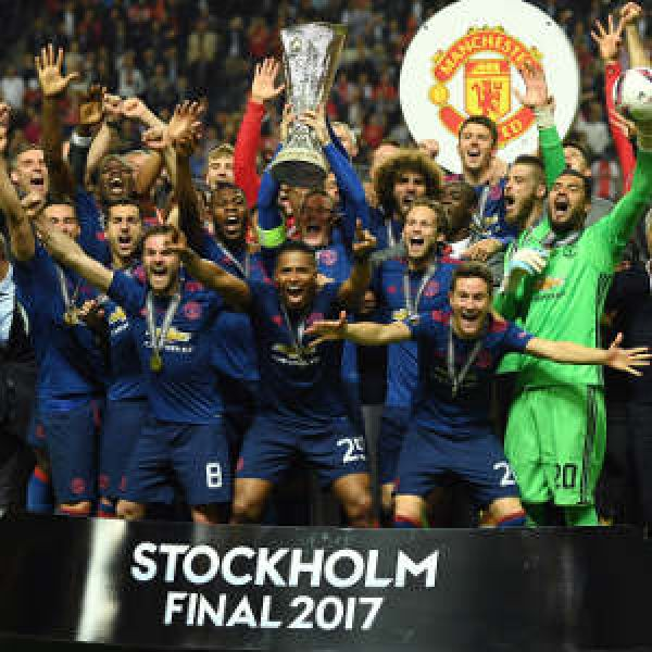 •Manchester United celebrating their Europa League triumph on Wednesday night.