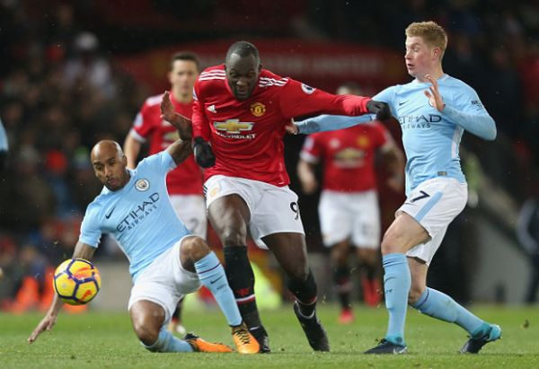 •United's Lukaku bulldozes his way through City challengers during a previous Manchester derby
