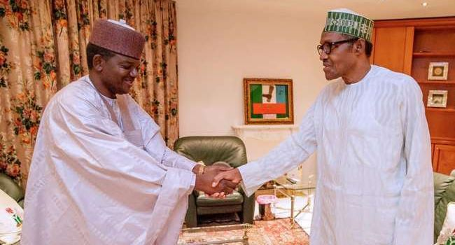 •Governor Matawalle exchanging pleasantries with President Buhari.