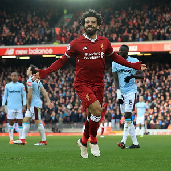 •Liverpool marksman Mohamed Salah celebrating yet another goal in Saturday's 4-1 thrashing of We