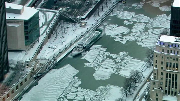 • Much of Chicago River has frozen over