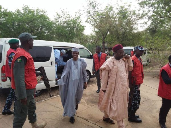 •Mukhtar Shagari, middle, and one of the co-accused arriving Sokoto Federal High Court today