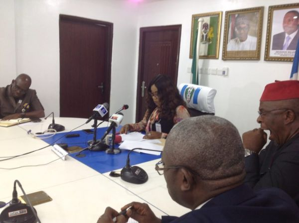 •NAPTIP DG Julie Okah-Donli addressing the press conference on Monday