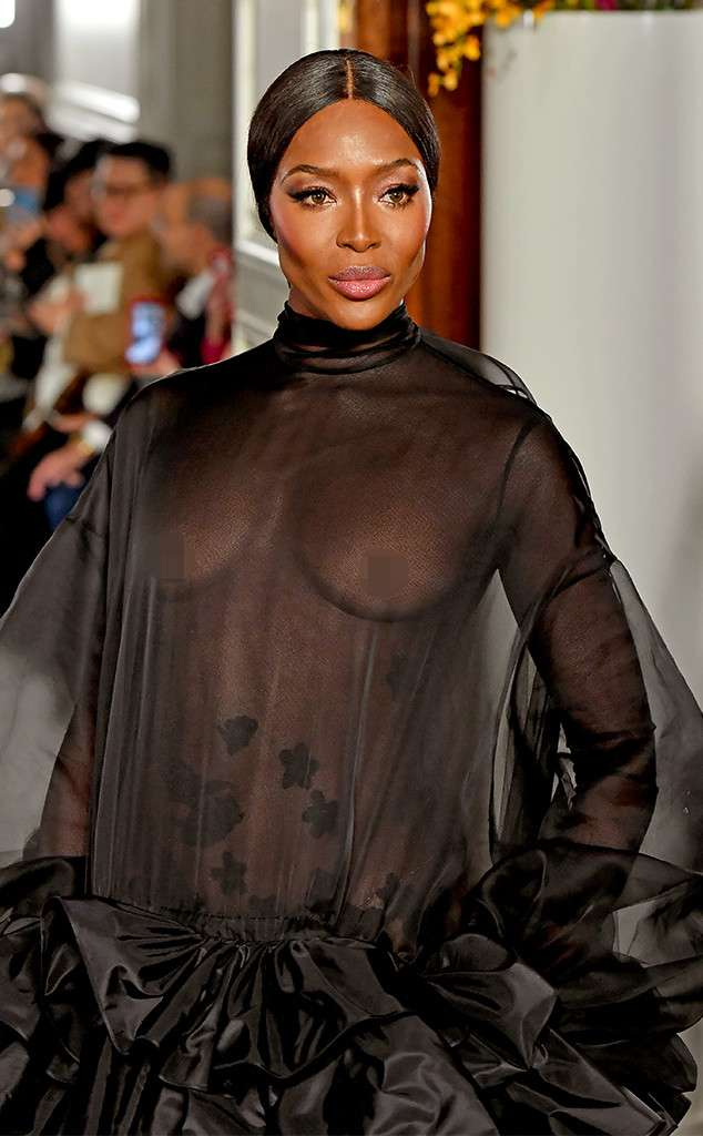 Supermodel Naomi Campbell shows off nipples at fashion show