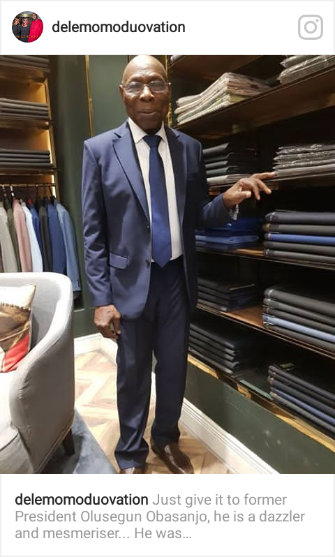 •Ex-President Obasanjo posing in suit on Thursday