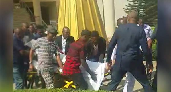 •Olisa Metuh on a stretcher after appearing in court
