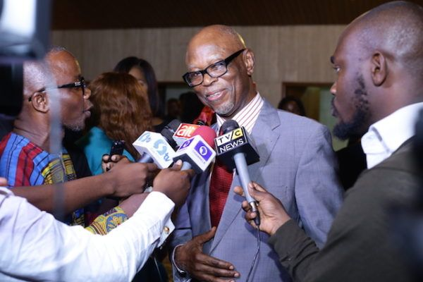 •John Odigie-Oyegun speaking to news men.