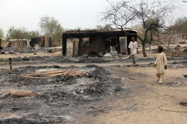 •Burning Borno settlement.
