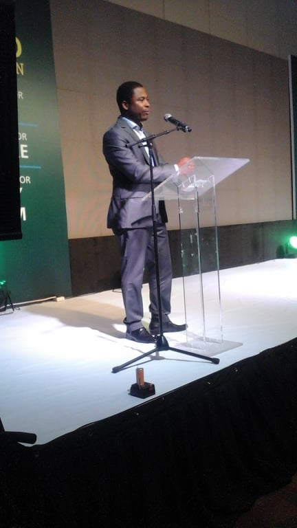 •Dr. Peter Ngene giving his acceptance speech after winning the Science Prize