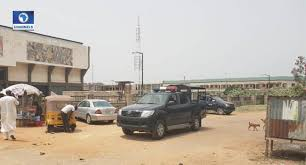 •Police vehicles at the entrance of venue for Kano PDP primaries