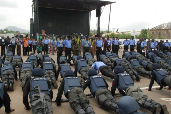 •Policemen during a fitness exercise