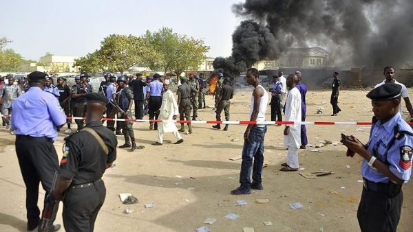 •The police cordoning off the scene of a suicide bomb attack