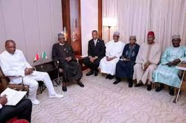 •Presidents Buhari and Alpha Conde with their aides during Friday's bilateral meeting in Istanbu
