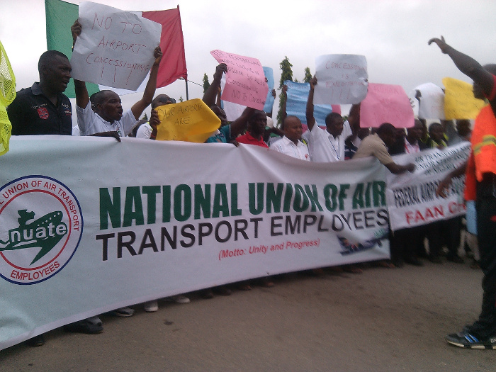 •Protesting aviation workers . . . Wednesday morning in Lagos