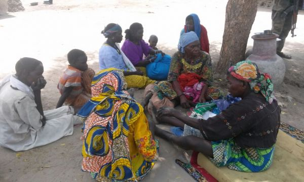A cross section of women and children previously rescued from Boko Haram by the army.