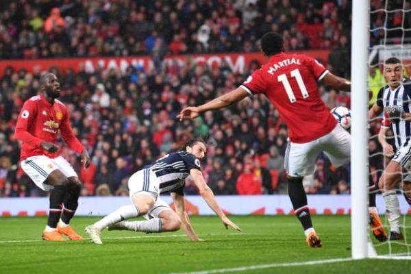 •West Brom's striker Jay Rodriguez netting the decisive goal . . . Sunday evening at Old Traffor