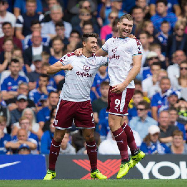 •Burnley's two-goal hero Sam Vokes in celebration mode. Photo: Getty Images
