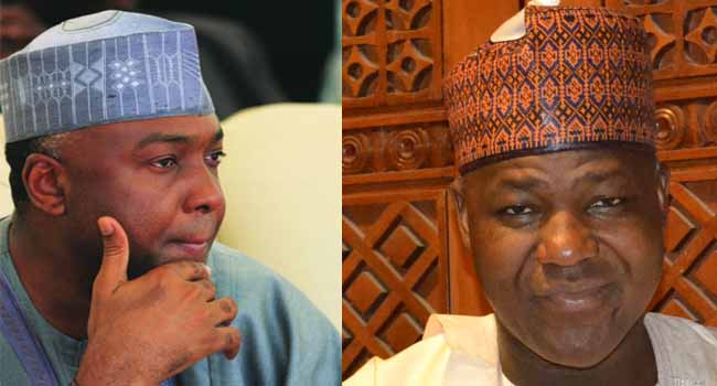 •Photo collage of Dogara and Saraki