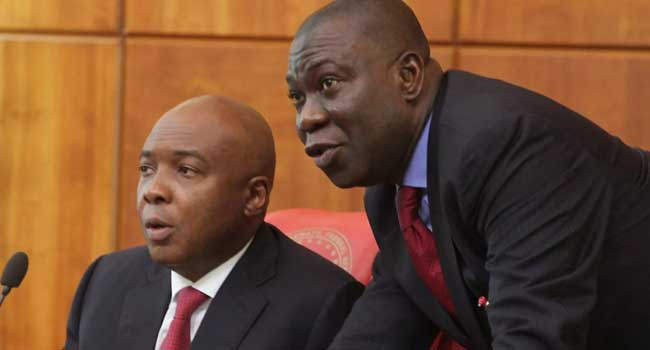 •President of the Senate Dr Bukola Saraki and Deputy Ike Ekweremadu