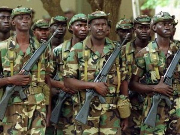 •Battle-ready Senegalese troops.