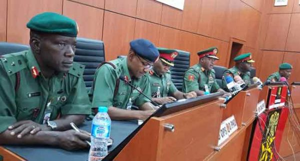 •A section of senior Army Officers at the press briefing