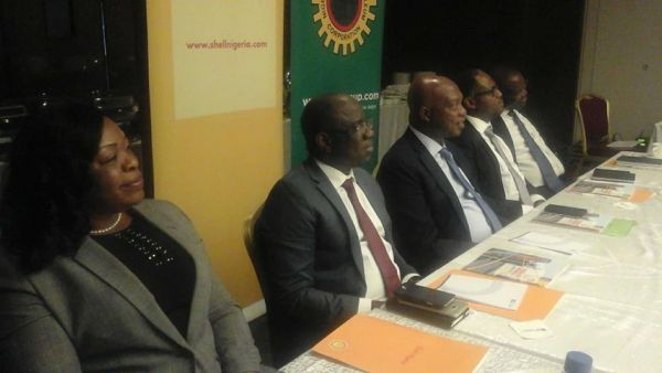 •Shell Nigeria chiefs at Thursday's media briefing in Lagos. Photo: News Express.