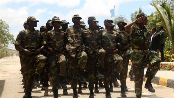 •A cross section of Somali soldiers during a parade