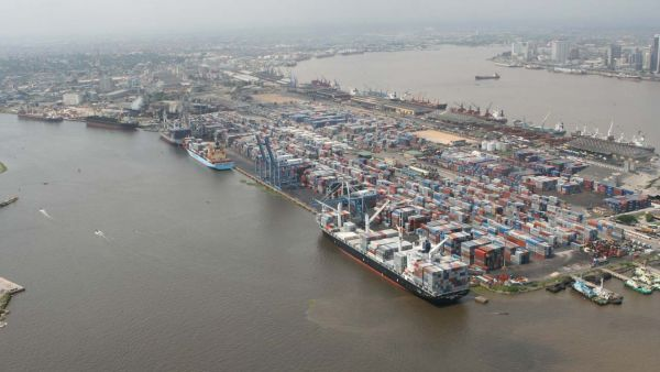 •Containers at Apapa Seaport